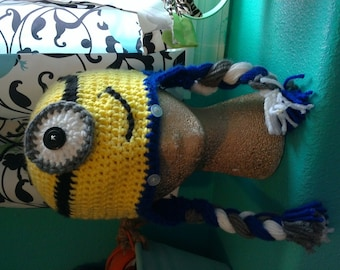 Crocheted Minion hat with ear flaps and braids