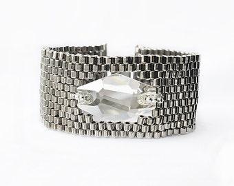 Swarovski bracelet, Miyuki Delica Bracelet, Miyuki weave bracelet, elegant Swarovski bracelet