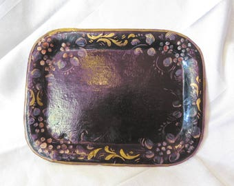 Antique signed handpainted tin tray Salem, NJ