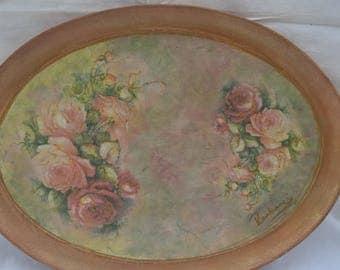 Handmade decorative tray Wood Decoupage  Finish Vintage