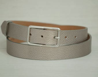 Leather Belt, Silver Leather Belt, Pewter Silver Leather Belt, Silver Leather Womens Belt