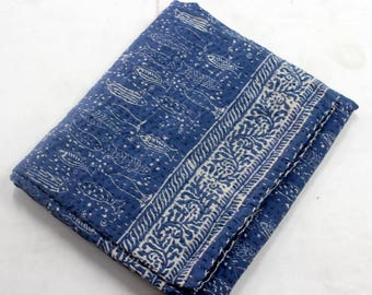 Hand made kantha quilt vintage twin size throw hand stitched indigo blue Fish print kantha bedcover
