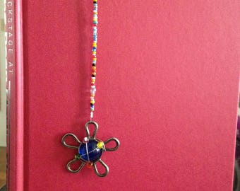 Decorative Flower and Beaded Bookmarker