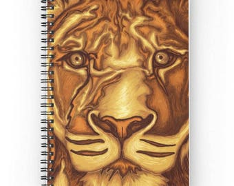 Spiral notebook for journal sketch zentangle - painting Portrait of lion