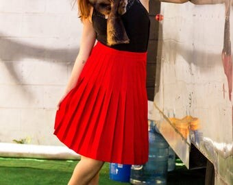 Vintage Red Pleated Christian Dior Skirt