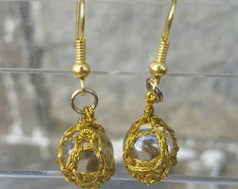Small Crochet Teardrop Earrings- Metallic Gold