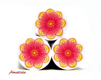 Polymer clay flower cane: Raw polymer clay cane - Millefiori cane supplies - Yellow and pink flower cane - Supplies for jewelers