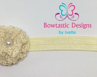Baby Headband, Baby Hair bow, Baby Girl Headband, Elastic Headband, Fabric Flower, Bow