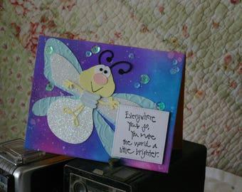 Cute Firefly Greeting Card Handmade