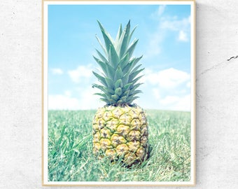 Pineapple Print, Tropical Fruit Wall Art, Large Poster, Hawaii, Contemporary Photography, Modern Minimalist, Printable Digital Download