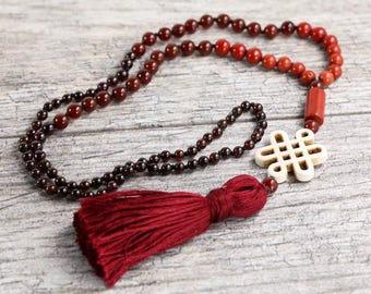 "Red carnelian, jasper and garnet mala necklace - 24"" inches long - Prayer beads - Handmade tassle - Tibetain endless knot"