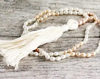 "Natural color pearl and aquamarine mala necklace - 26"" inches long - Prayer beads - Handmade tassle"