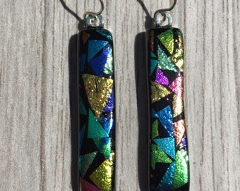 Dichroic Fused Glass Earrings - Rainbow Mosaic Pattern Earrings with Solid Sterling Ear Wires