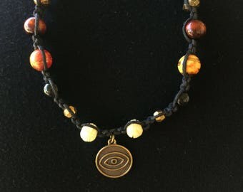 Black hemp beaded anklet with pendant