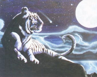 Hand Signed Tiger Moon Canvas Print