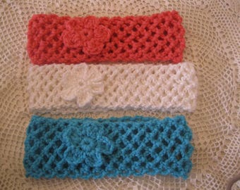 Two Crocheted Headbands with flower