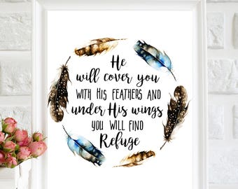 He Will Cover You With His Feathers Printable, Bible Verse Print, Psalm 91:4 Print, Watercolor Feathers, Scripture Wall Art, Christian Gifts