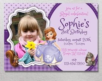 Sofia the First Invitation, Sofia the First Birthday Invites, Princess Sofia Party Invite, Card Printables, Sofia Printable Invitations