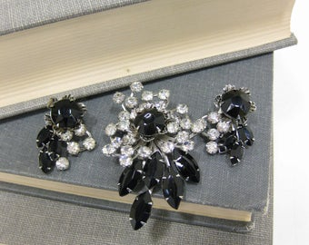 Fabulous Hope Chest Clear & Black Rhinestone Clip Earrings and Brooch set