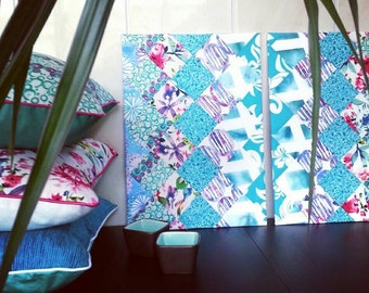 Diptych Picture Patchwork Bue / Seagreen