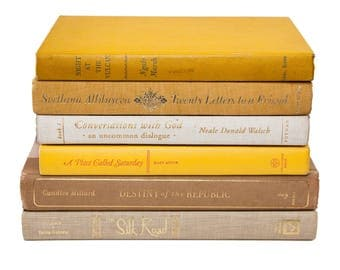 Set of Vintage Yellow & Tan Old Books for Decor, Instant Library, Book Themed Wedding, Centerpieces, Antique Shabby Chic Decor, Sunshine