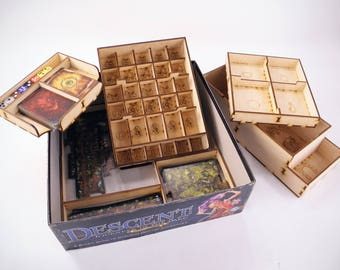 Descent: Journey in the Dark 2nd edition game, wood insert, organizer