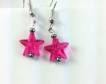 Children's earrings pink stars #56