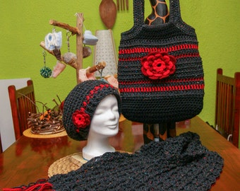 SUPER SET! Crocheted Hat + scarf + handbag