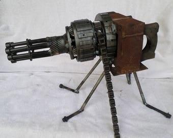 welded scrap metal Gatling Gun sculpture