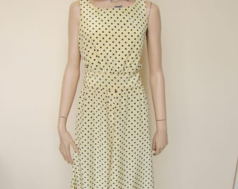 Yellow and Navy Polka Dot Dress with Matching Jacket