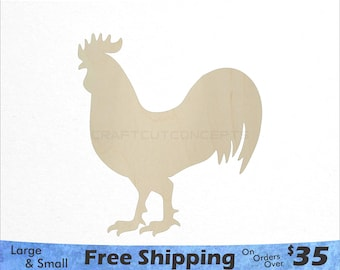 Rooster Shape - Farm Animals - Large & Small - Pick Size - Laser Cut Unfinished Wood Cutout Shapes (SO-0061)