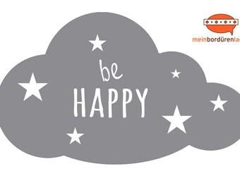 Wandtattoo: Wolke mit Sternchen - be happy   Wandsticker, Wandaufkleber, Wandgestaltung, Wolke für Babyzimmer, Kinderzimmer