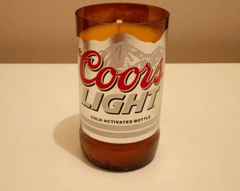 Beer Bottle Candle, Upcycled Gifts, Coors Light Soy Candle (Unscented)