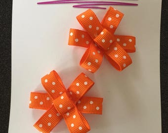 Orange and White Polka Dot Flower Ribbon Bows