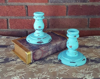 Upcycled Wooden Candlestick Holders - Aqua Chalk Paint Distressed Candle Holders