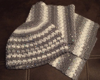Sequin Hat and Scarf Set
