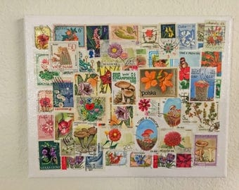 Flowers & Fungus postage stamps 8x10 collage