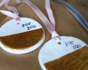 Clay   gift tags with gold