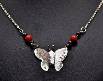 Beautiful Handcrafted Sterling Silver Butterfly Pendant with Garnet and Coral.
