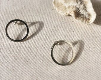 Minimal Open Circle stud earrings in recycled sterling silver