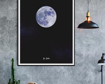 Moon Print, Moon Photo, La Lune, La Luna, Planet Wall Art, Constellation, Space Wall Art, minimalist, night sky, celestial, star, scandinave