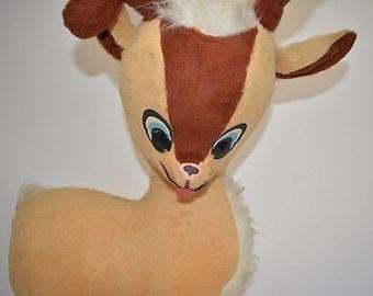 "HUGE! 49""x18"" Stuffed Rudolph Red Nose Reindeer 1980's Vintage"