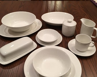 "White Ironstone Dining Set; Johnson Bros, England,""Athena"" Pattern"