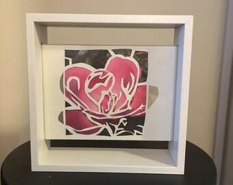 Rose - paper cut photo 5x7