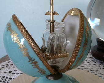 Vintage Mechanical Limoges Egg Perfume Casket With Mini Bottles