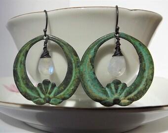 Verdigris Earrings - Patina Hoop Earrings - Verdigris Patina -  Lotus Earrings - Chandelier Verdigris Hoop - Moonstone - Antiqued Patina