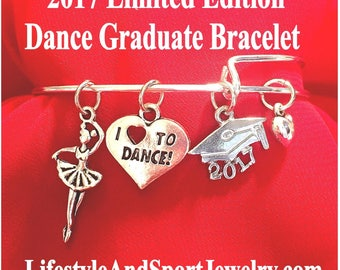 2017 Dance Graduate Bracelet, Dance Charm Bracelet, Dance Jewelry, Dance Gift, Ballerina Charm Bracelet, Ballet Gift, Dancer Bracelet