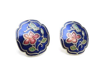 Blue Cloissone - Art Nouveau Style - Enamel Gold Earrings - Cloissone Enamel - Round Earrings - Asian Post Earrings - floral earrings