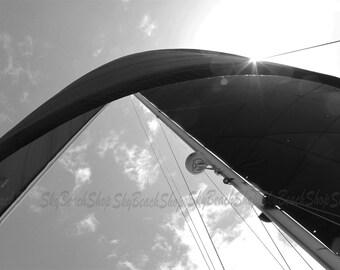 Catamaran Black Sail, Black & White, Large Nautical Photograph, Ocean, Sailing, Oversized Wall Art, Large Horizontal Canvas Print