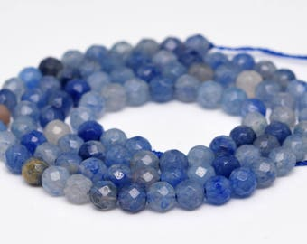 "4MM Faceted Blue Aventurine Natural Gemstone Full Strand Round Loose Beads 15"" (100901-343)"